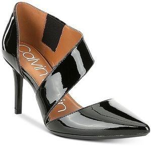 Black vinyl heels